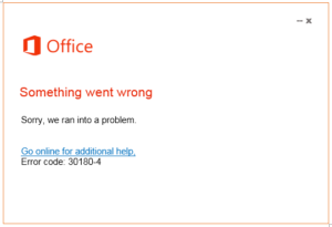 office 2016 error 30180-4 support