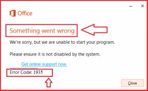 How to fix Office Error Code -1935